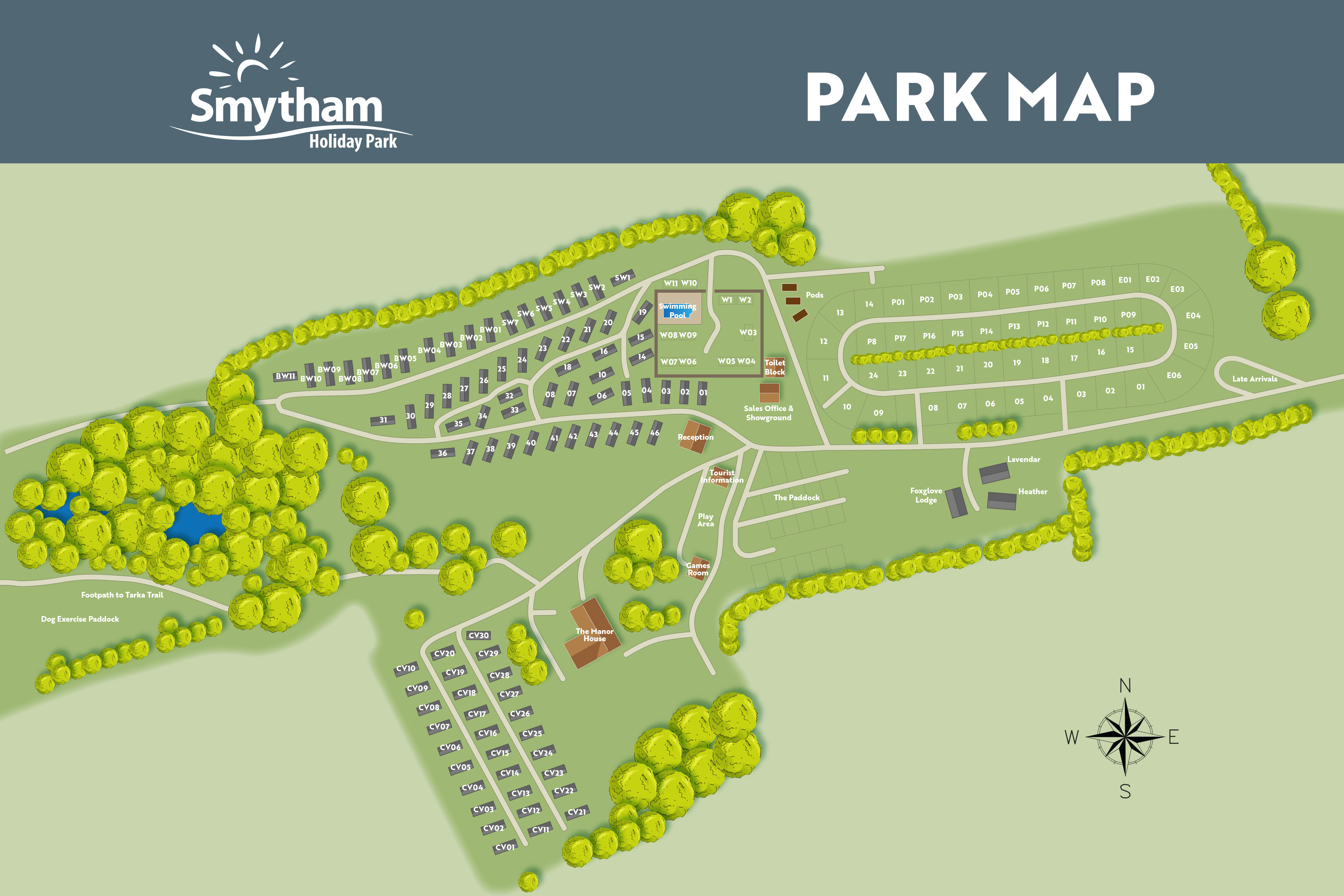 Park Map at Smytham Holiday Park