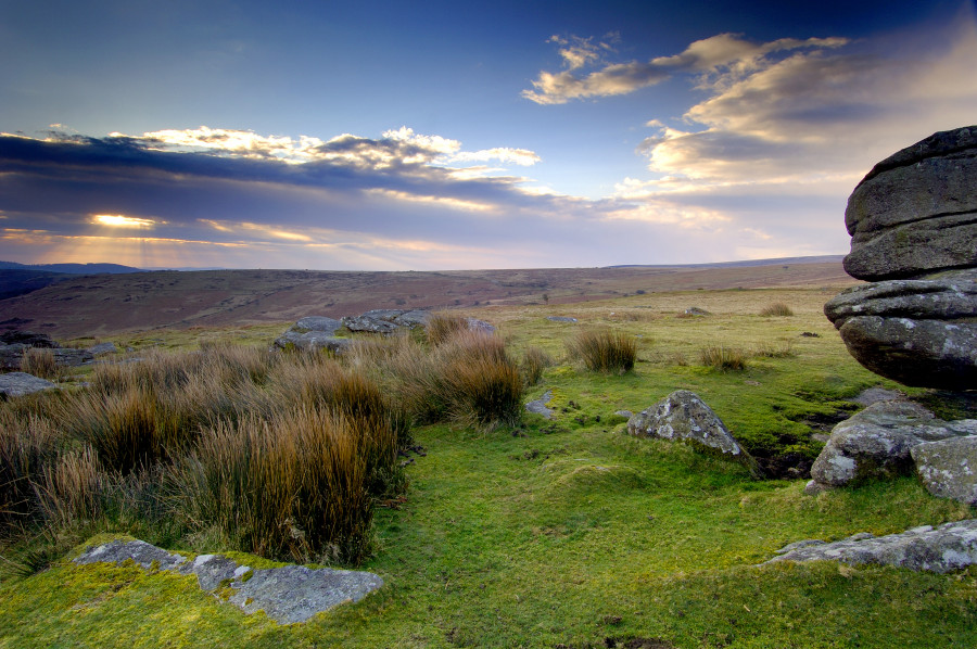 Dartmoor in Devon with sun and clouds