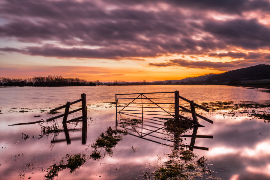Flooded field at sunset in somerset